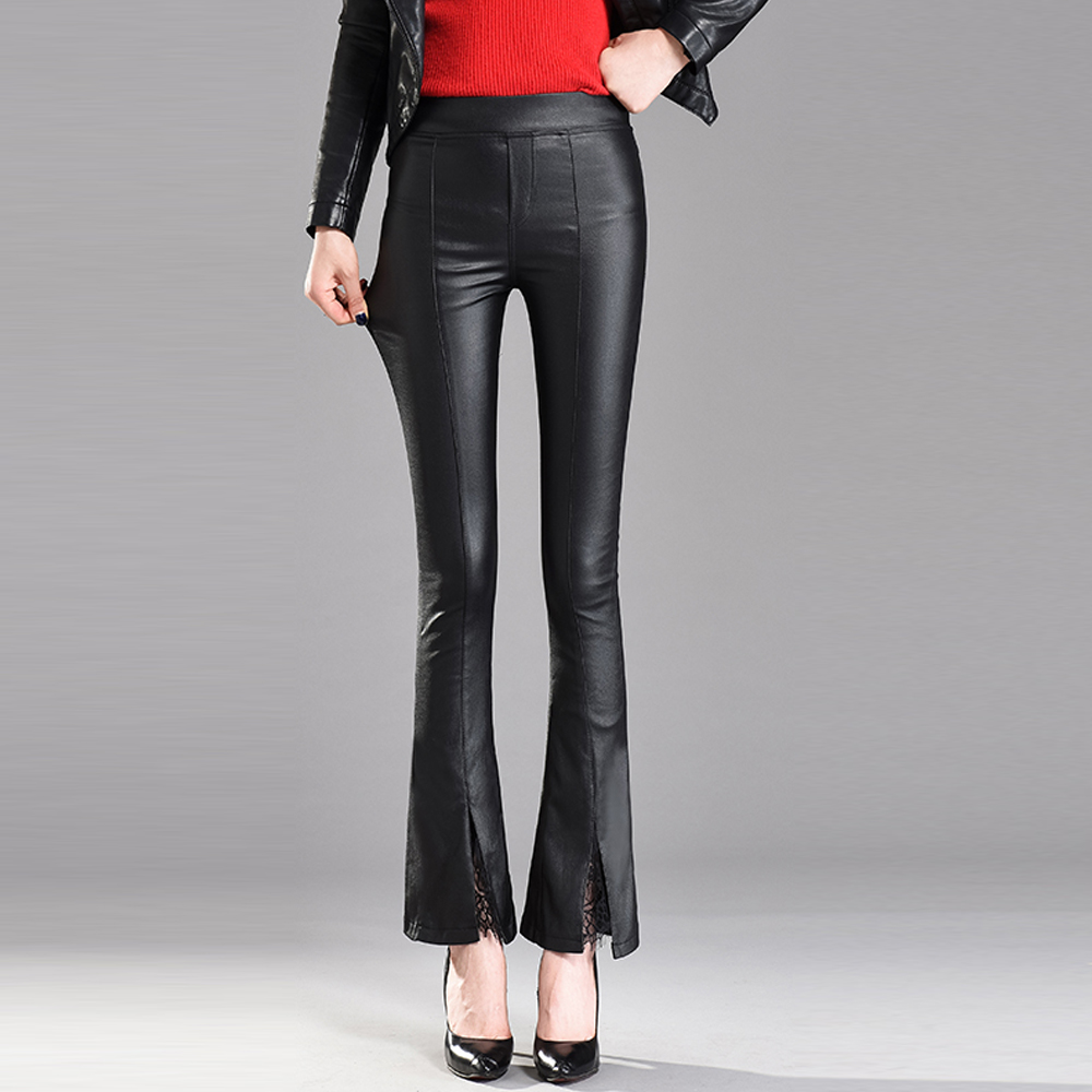 PU Leather Pants Women Autumn Winter High Waist Flare Pants Stretch Legging Velvet Trousers Women Lace Stitching Casual Pants