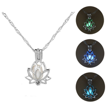 3 Colors Glowing In The Dark Lotus Flower Shaped Pendant Necklace Charm Chain Delicacy Necklace Luminous Party Jewelry Women цена