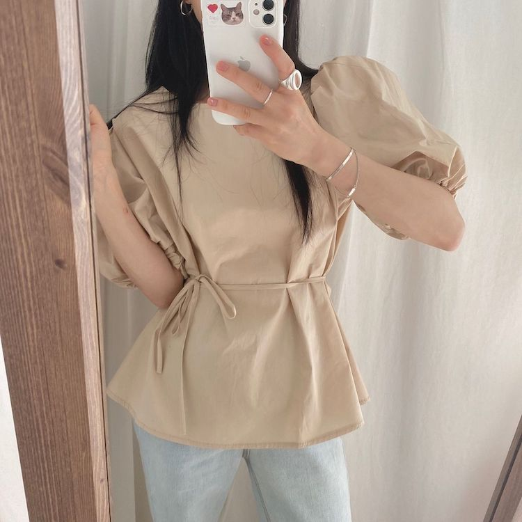 He1fe5c9c444d45fba36571d31ea0019d7 - Summer O-Neck Short Puff Sleeves Cotton Lace-Up Solid Blouse