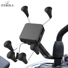 Univerola Motorcycle Phone Mount Cell Smartphone Holder for Rearview Mirror with 360 Rotate GPS Support