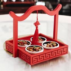 Charakterystyczny chiński węzeł czerwony drewno cztery krata pudełko dwa przypadku restauracja hotel kreatywny bambus drewno zastawa stołowa taca miska