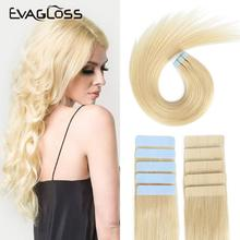 Machine Hair-Extensions Human-Hair Tape-In EVAGLOSS 12-16 Skin-Weft Blonde Remy-Adhesive