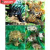 HUACAN Paint By Number Leopard Drawing On Canvas Gift DIY Pictures By Numbers Animal Kits Hand Painted Painting Art Home Decor