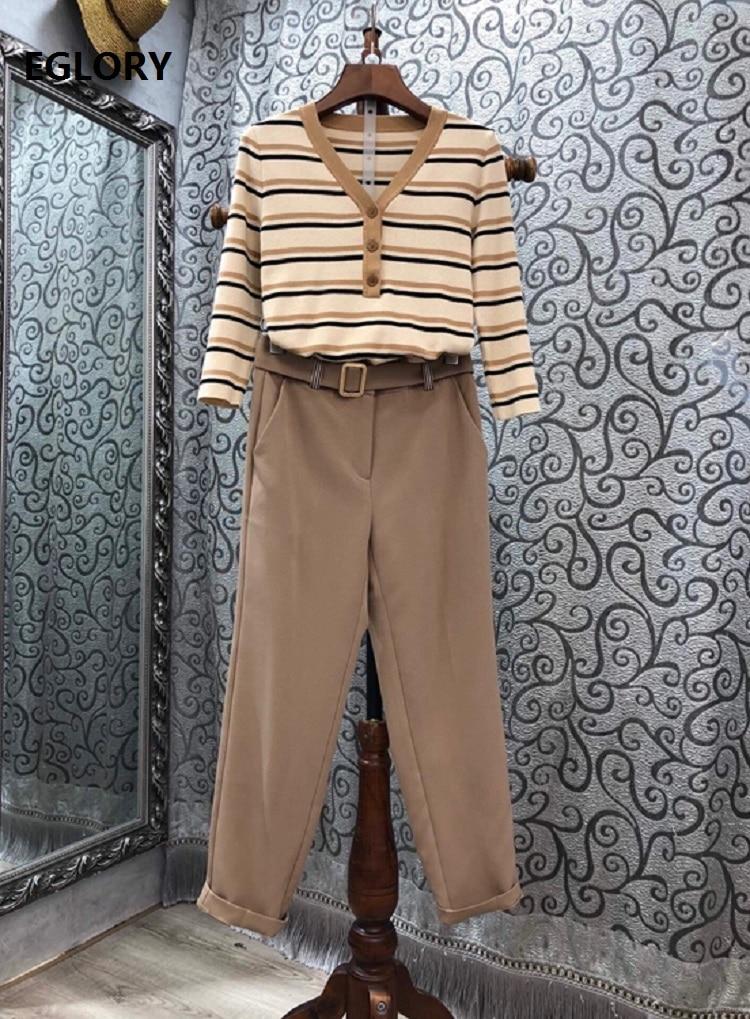2020 Autumn Winter Fashion Clothing Sets Women V-Neck Striped Patterns Sweaters+Calf Length Pants & Capris Sets Casual Work Suit