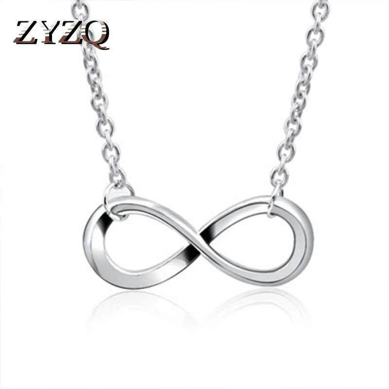 Zyzq Sederhana Fashion Keabadian Desain Kalung Perak Plated Infinity Huruf Delapan Berbentuk Liontin Grosir Banyak dan Massal Hot Sale