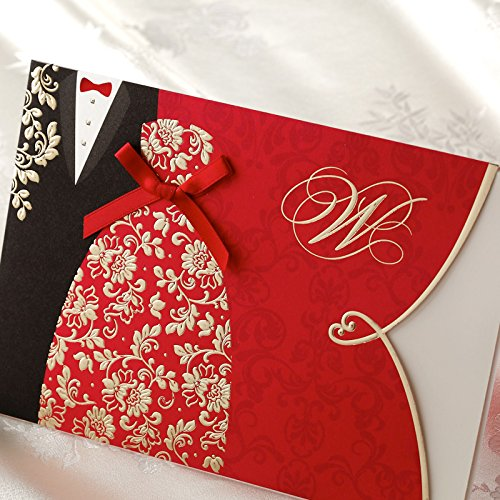 1 pcs sample <font><b>card</b></font> Wishmade Red Wedding <font><b>Invitations</b></font> Kit with Bride & Groom Dress <font><b>Blank</b></font> Invite <font><b>Cards</b></font> With Red Envelope image