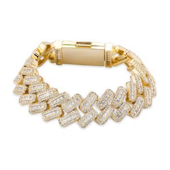 JINAO 20mm Box buckle Clasp Baguette Zircon Prong Setting Cuban Bracelet Iced Out Cubic Zirconia Chain Hip Hop Rock Jewelry