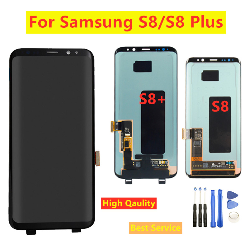 Für <font><b>S8</b></font> plus Display <font><b>Screen</b></font> für <font><b>SAMSUNG</b></font> <font><b>Galaxy</b></font> <font><b>S8</b></font> PLUS G955 G955F Bildschirm Ersatz LCD Touch Digitizer Montage image