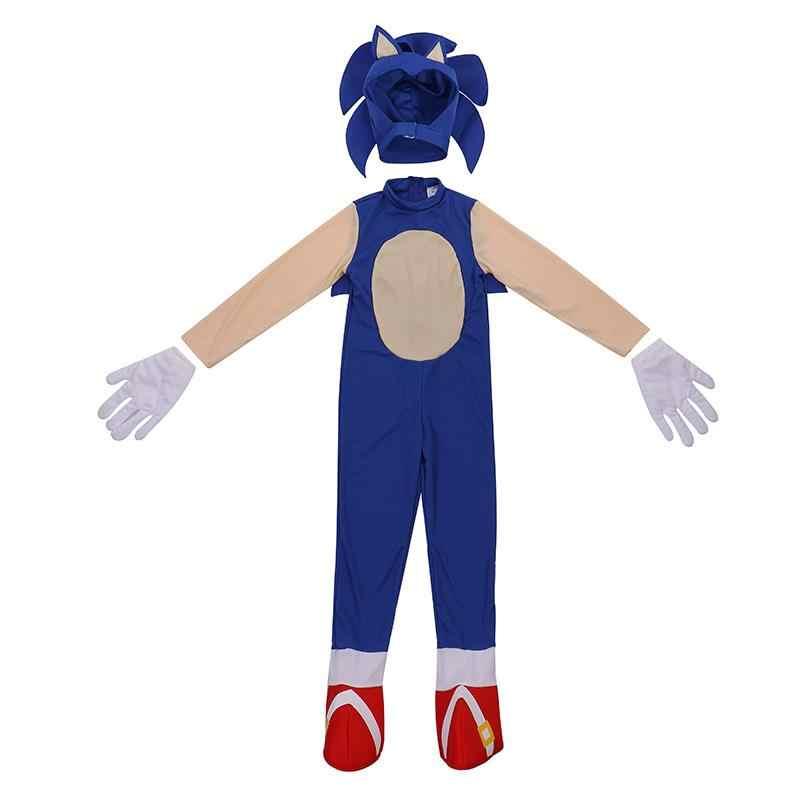 Fantasia infantil do ouriço, nova chegada, incrível, rápido, azul, heróis, jogo de vídeo, personagem sônico, trick ou tratador, crianças, traje de halloween