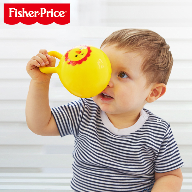 FISHER-PRICE Children 4-Inch Ball Knob Rattles 4-Color Infant Educational Toy Baby Hand Ball F0517