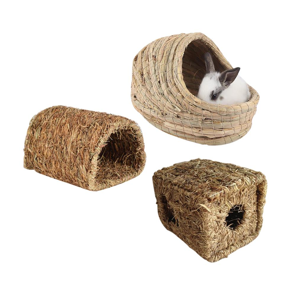 Pet Hamster Nest Woven Natural Straw Rabbit Guinea Pigs Warm House Handmade Cage For Winter Small Animals Supplies