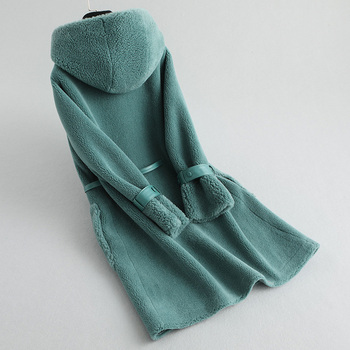 Ayunsue معطف الفرو الحقيقي النساء الأغنام القص الشتاء معطف المرأة الكورية طويل الصوف سترة النساء الملابس 2019 KQN59455 YY1587 1