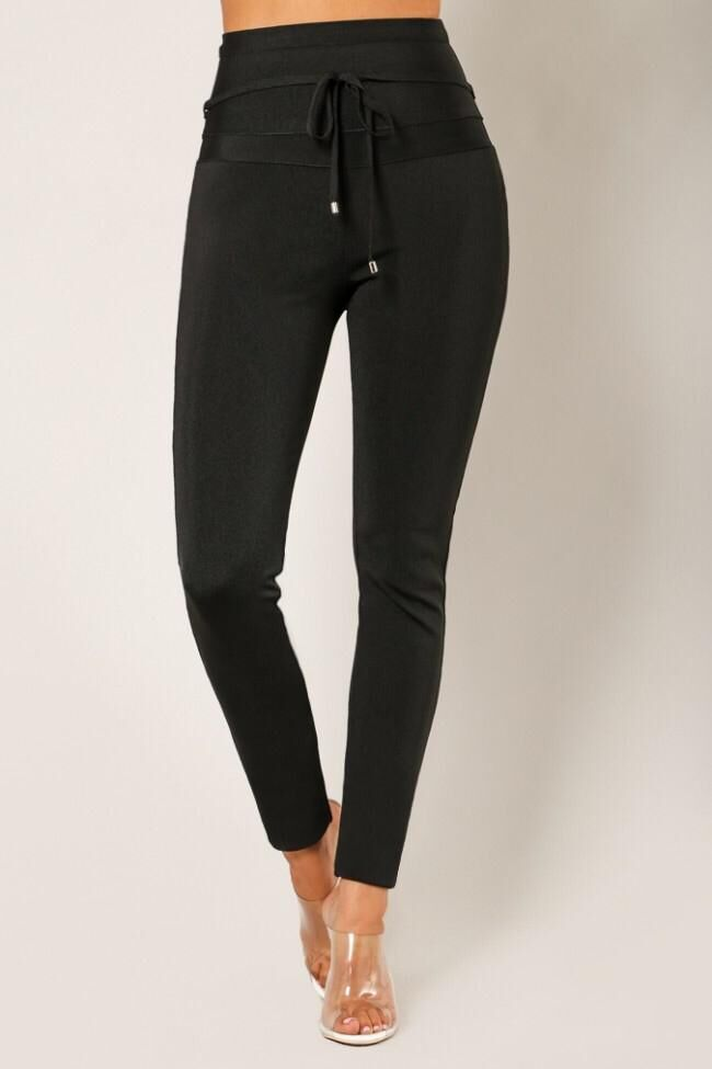 High Quality Black Bodycon Rayon Bandage Pant Sexy Fashion Pant