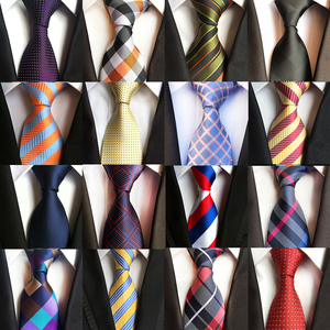 New Fashion Striped Plaid Men's Tie Red Blue Grey Classic Neck Ties Leisure Business Wedding High Quality 8cm Silk Necktie(China)