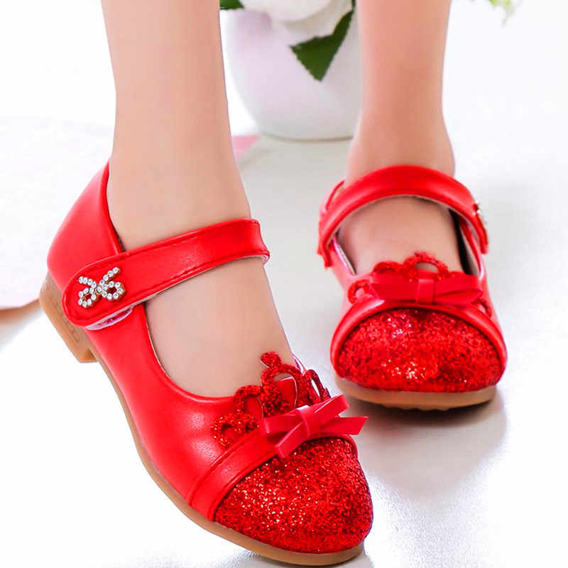 2019 Meisje Rode jurk schoenen modellen strik prinses schoenen leer Koreaanse studenten 3 kleur baby leren schoen voor 3- 11 jaar kinderen