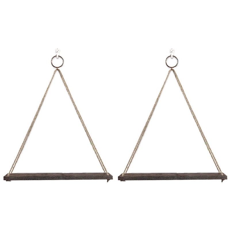 Hanging Shelves Wall Mounted Wood Shelves with 2 Rings Lightweight and Durable Farmhouse Rope Shelves