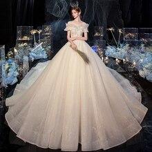 Vestido de novia de color champán con hombros descubiertos, vestido de novia Vintage con encaje, vestidos de novia modestos