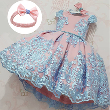 2Yrs Baby Girls Ball Gown Elegant Christening Dresses Sweet Princess Clothing 1 Year Birthday Party Dress Flower Wedding Dress