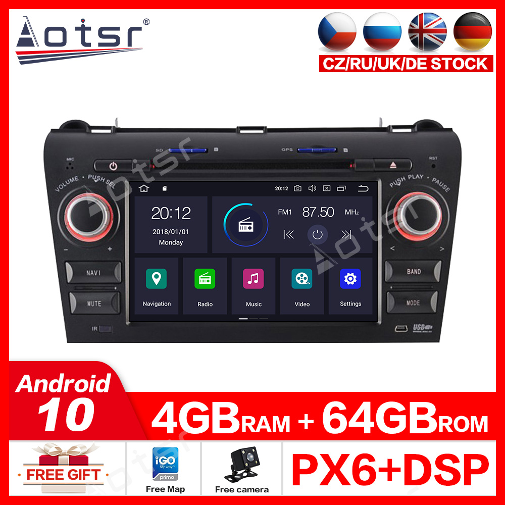 Android 10.0 4G+64GB Car <font><b>GPS</b></font> <font><b>Navigation</b></font> DVD Player For Mazda3 2003-2009 radio recorder media player video CD player MP3 player image