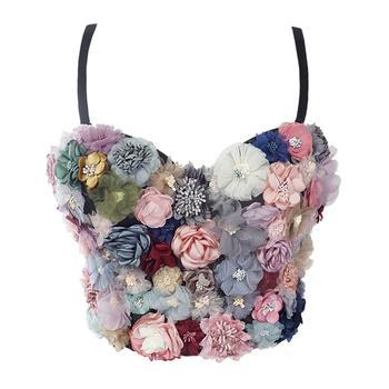 SXTHAENOO Sexy & Charming Applique Floral Corselets Women's Bachelorette Bustier Bra Cropped Top Wedding Bralette Vest 7
