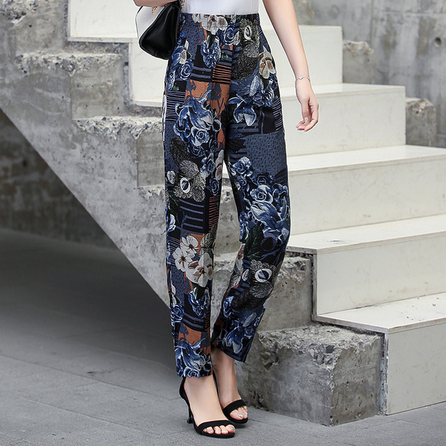 22 Colors 2020 Women Summer Casual Pencil Pants XL-5XL Plus Size High Waist Pants Printed Elastic Waist Middle Aged Women Pants 2
