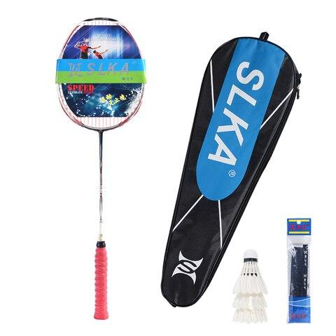 Raquete de Badminton de Carbono Rígido com Bolsa Ultraleve Slka Strung Badminton Profissional Completa Raquete Battledore 30 £ Eixo 7u 67g