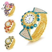 Women Fashion Luxury Brand Wristwatches Ladies Gold Color Quartz Watch Crystal Rhinestone Decoration For Wedding/Engagement(China)