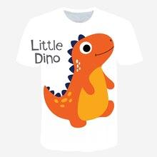футболка Boys Oversized T-Shirt Summer 2021 Children's Cartoon Dinosaur 3D Printed O Neck Short Sleeve Cool Casual Tee Tops