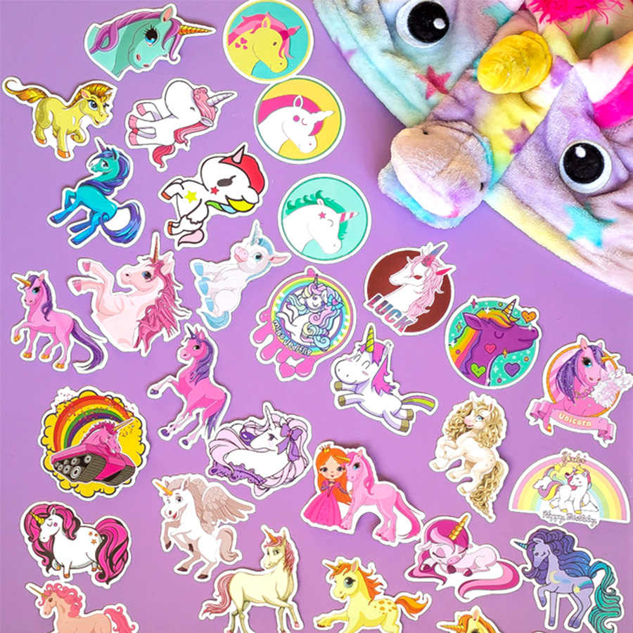 Lucu Grafiti Stiker Berkemah Perjalanan Rainbow Unicorn Tahan Air Stiker Stiker Pada Laptop Bagasi Skateboard Ponsel Tablet Lemari Es