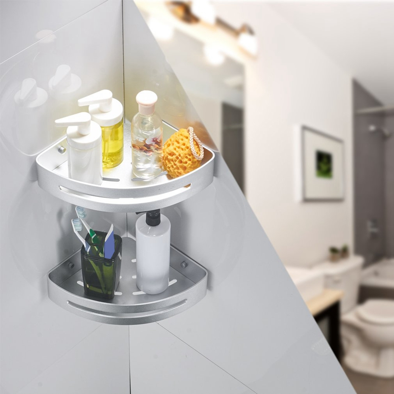 Bathroom Shower Corner Shelf Aluminum Shower Caddy Adhesive Tile Shower Shelf|Storage Shelves & Racks| |  - title=