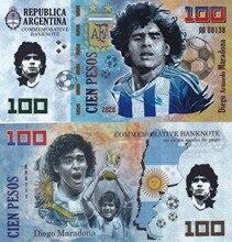 Original maradona 100 pesos argentina nota 2020 plástico nota futebol não-moeda dinheiro colecionáveis