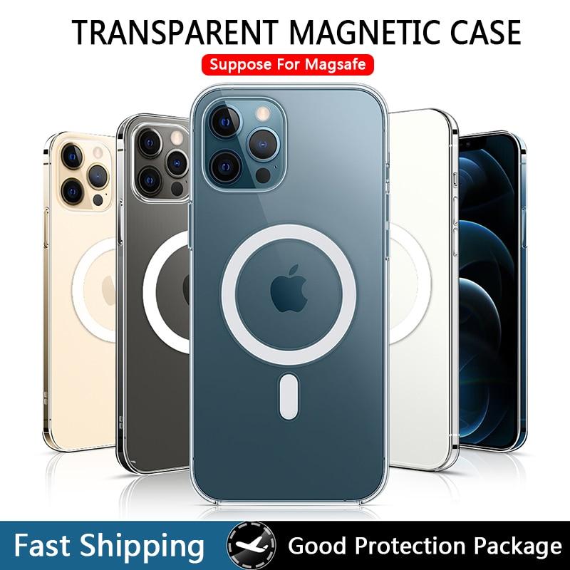 Прозрачный Магнитный чехол для iPhone 12 Pro Max Mini Magsafing, магнитный Прозрачный чехол для iPhone 11 Pro XS Max X XR iPhona