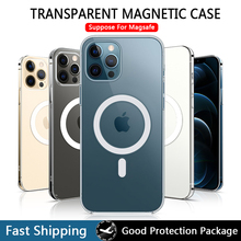 Transparent Magnetic Case for iPhone 12 Pro Max Mini Magsafing Magnet Clear Back Cover for iPhone 11 Pro XS Max X XR iPhona