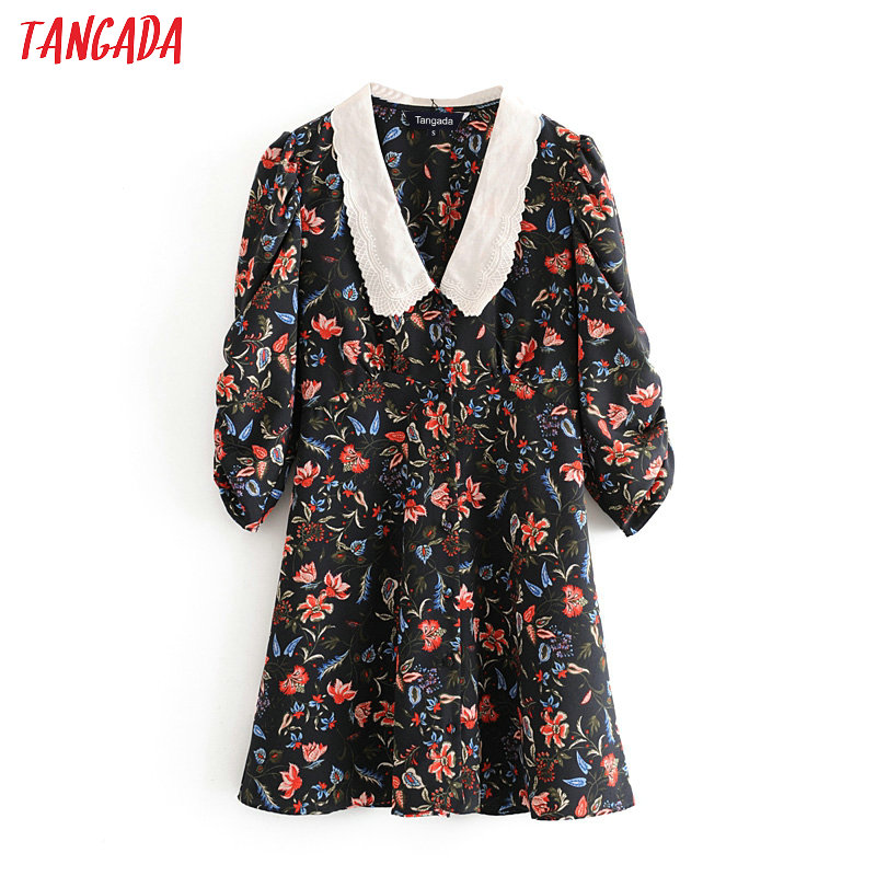 Tangada Women Flowers Print Mini Dress Peter Pan Collar Puff Long Sleeve Ladies Vintage Short Dress Vestidos 3H63