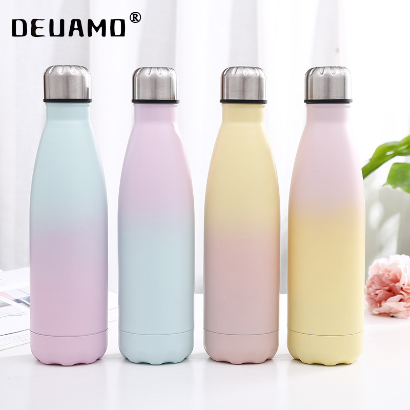 Logo Custom 500ml Double color Water Bottle Insulated Cup Stainless Steel Thermos Bottle Portable Travel Sport Vacuum Gift Cup|Water Bottles|   - AliExpress