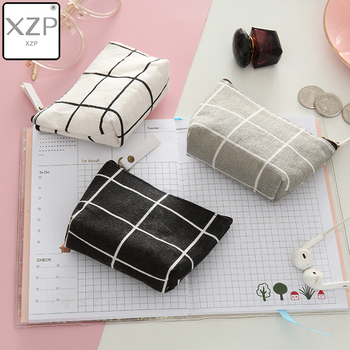 XZP Classic Women Kids Canvas Coin Purse Plaid Zipper Pouch Small Wallet Children Female Key Card Holder mini Money Bag Gift image