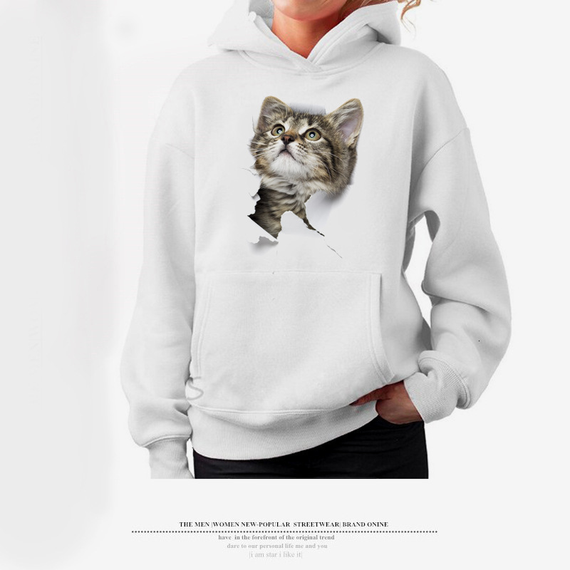 Women Girl Cartoon 3D Lovely Cat Print Sweatshirt With Pocket Long Sleeve Casual Harajuku Hoodies Steetwear Sudadera Mujer Ey*
