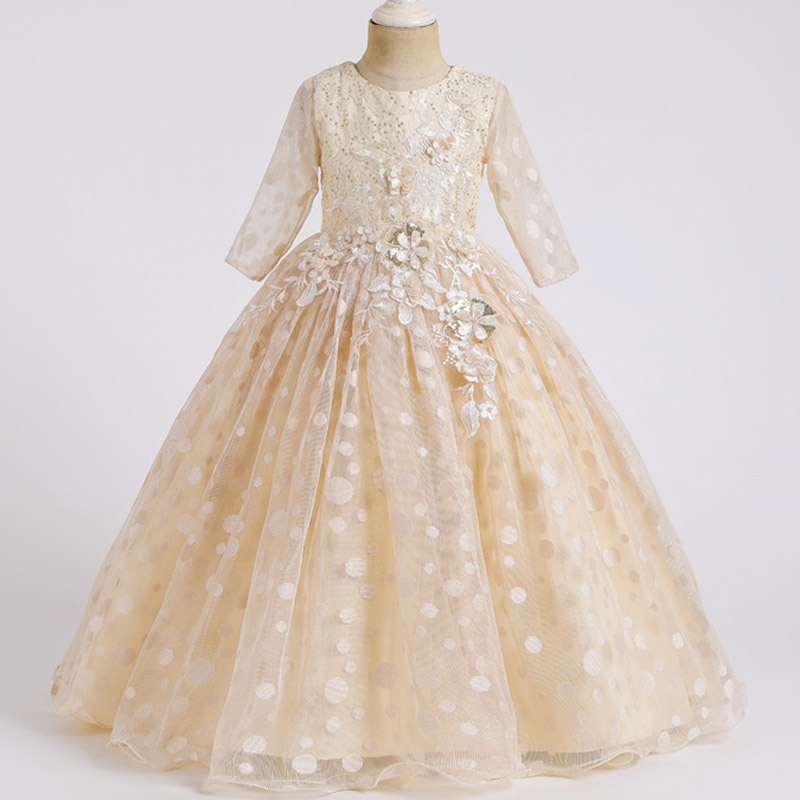 Кружевные платья для девочек с цветочным рисунком и длинным шлейфом; элегантные платья невесты; бальное платье; вечернее платье; платья для первого причастия; Vestido Comunion - Цвет: champagne