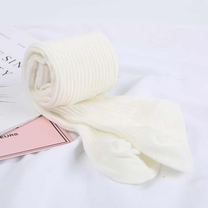 2019 bebé Otoño Invierno medias calientes bebé niña bebé acanalado medias de algodón caliente pantimedias Color caramelo sólido apretado 0-4 años