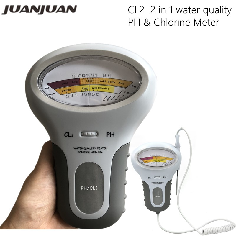 CL2 Tester 2 In 1 Water Quality PH & Chlorine PC-101 Level Portable Digital PH Meter Pool Spa Analytical Instruments 40%off