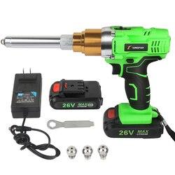 Rebitador arma 26v 3000 mah suporte cego elétrico recarregável sem fio portátil 2.4mm-5.0mm rebite com luz led ferramenta de rebitagem