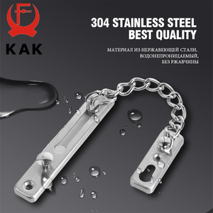 Image 4 - KAK 304 Stainless Steel Security Door Chain Lock Anti theft Door Chain Door Latch Nail Free Glue Thicken Door Lock Hardware