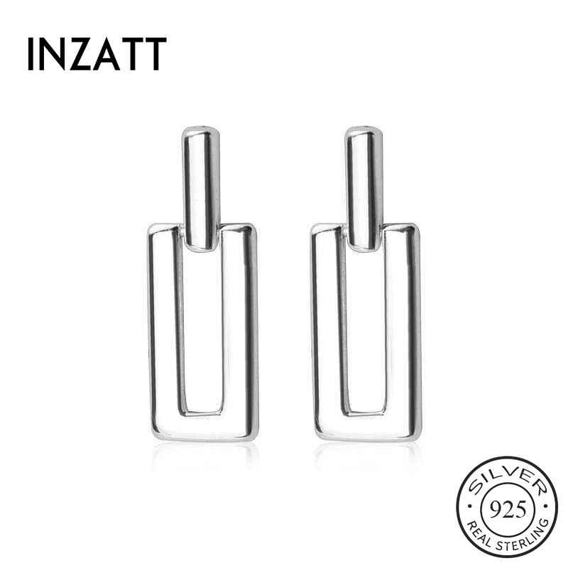 INZATT Real 925 Sterling Silver Geometric Stud Earrings Fashion Women Fine Jewelry Party Minimalist Cute Accessories Gift