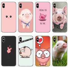Mini pet pig Small pig pink For iPhone 11 Pro XS Max XR X 8 7 6 6S Plus 5 5S SE 4s 4 iPod Touch Phone Case Back Cover(China)