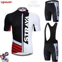 2021 STRAVA Summer short Sleeve Cycling Jersey Set Bib Pants Ropa Ciclismo Bicycle Clothing MTB Bike Jersey Uniform Mens Clothes