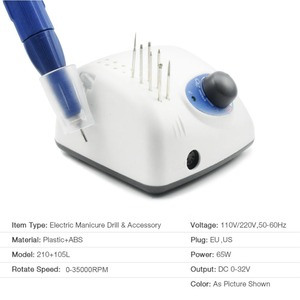 Image 3 - 65W 35000rpm Nail Drill Manicure Apparatus for Machine Pedicure Electric File Bits STRONG 210 105L Handpiece 2.35mm Nail Tools