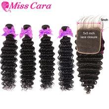Deep Wave Bundles With 5X5 Closure Miss Cara Malaysian Hair 100% Remy Human 3/4