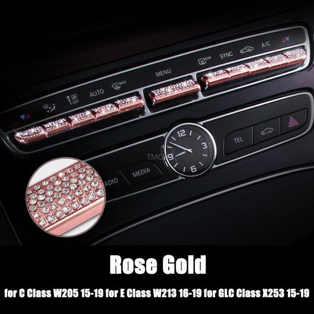 Accessoires de voiture | Pour Mercedes Benz C E GLC classe W205 W213 X253, commande intérieure, boutons de climatisation, garniture de couvercle en diamant