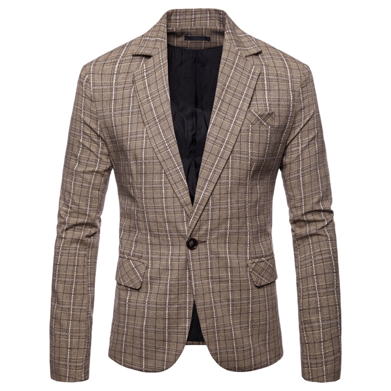 Men Blazers 2018 Fashion Trend European Code Casual Check Men Blazer Single Button Slim Business Suit For Men