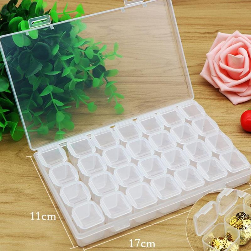 Fashion 28 Lattice / Box Detachable Nail Art Tool Boxes Plastic Storage Case Jewelry Storage Box Beads Organizer